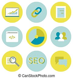 SEO flat icons set. Search optimization web elements.