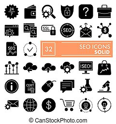 SEO glyph icon set, marketing symbols collection, vector sketches, logo illustrations, optimization signs solid pictograms package isolated on white background, eps 10.