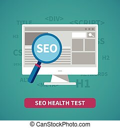 Seo health test vector concept in flat style