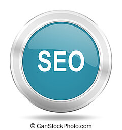 seo icon, blue round glossy metallic button, web and mobile app design illustration