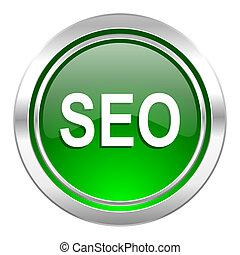 seo icon, green button