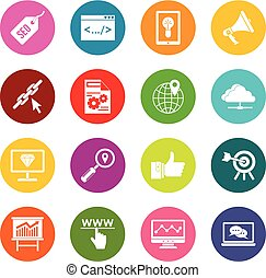 SEO icons many colors set