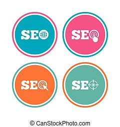 SEO icons. Search Engine Optimization symbols.