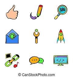 Seo icons set, cartoon style