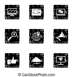 SEO icons set, grunge style