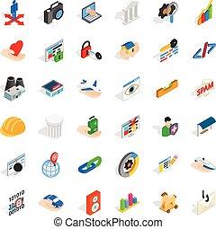Seo icons set, isometric style