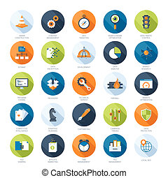 SEO icons - Vector collection of colorful flat search engine...