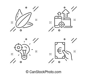 Seo idea, Seo devices and Sunflower seed icons set. Finance sign. Performance, Mobile stats, Vegetarian food. Vector
