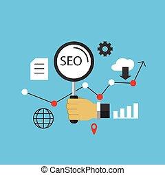 seo, image, vecteur, optimization., illustration, moteur, recherche