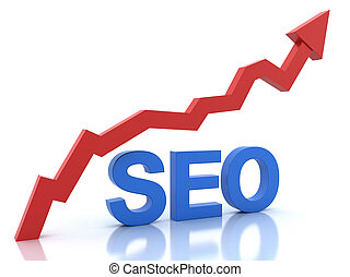 Seo in blue color and a graph in red color isolated on white