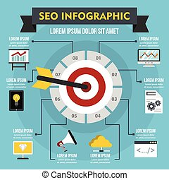 SEO infographic concept, flat style