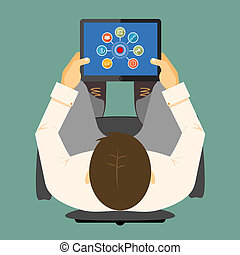seo, infographics, en, un, tableta, computadora