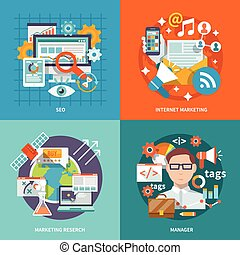 Seo internet marketing design concept with research manager flat icons set isolated vector illustration