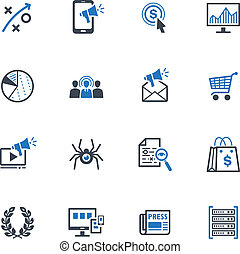 This set contains 16 SEO and Internet Marketing icons that can be used for designing and developing websites, as well as printed materials and presentations.