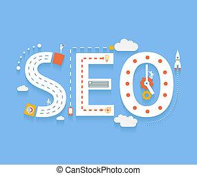 SEO, internet searching optimization process - SEO in flat...