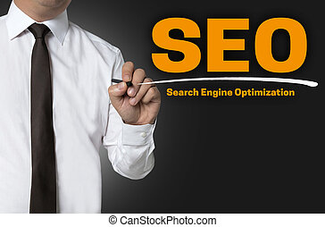 SEO is written by businessman background concept