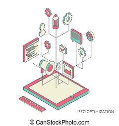 seo, isométrique, optimization, fond