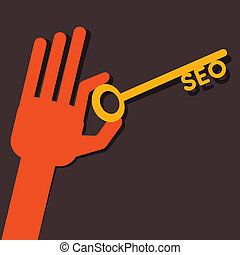 SEO key in hand