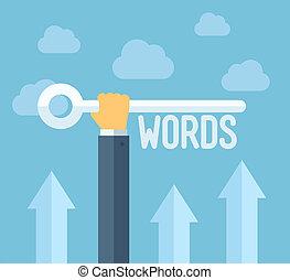seo, keywords, 平ら, イラスト, 概念