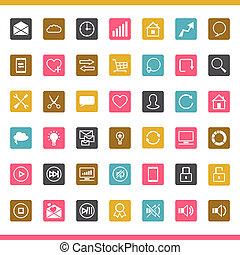 seo, komplet, 42, icons., internet
