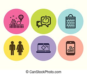 Seo laptop, Like and Roller coaster icons set. Restroom, Shopping bag and Smartphone statistics signs. Vector