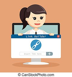 SEO Link building hold by businesswoman in monitor pc