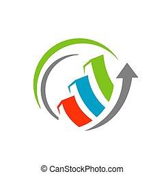 seo logo vector. Search engine optimization logo icon With economic sale bar Symbol, Graphic Design illustrations