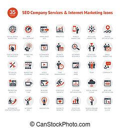 seo, marketing, set, iconen