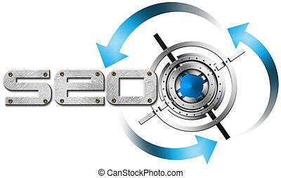 SEO Metal Target - Illustration with metal written SEO,...