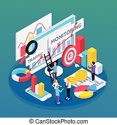 SEO Monitoring Isometric Composition