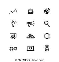 seo, moteur, recherche, icônes