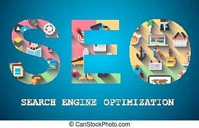 seo, moteur, recherche, optimization, concept