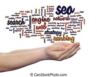 seo, motor, búsqueda, mano, optimization, palabra, nube, ...