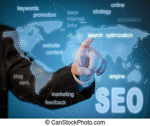 seo, motor, búsqueda, optimization, concepto