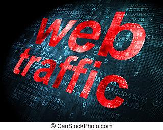 seo, netz- design, concept:, web, verkehr, auf, digitaler hintergrund
