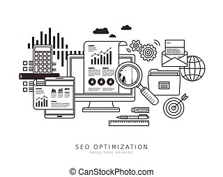 SEO optimization concept in thin line flat design style