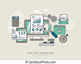SEO optimization concept in thin line style