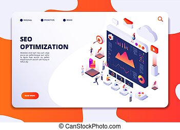 Seo optimization. Ecommerce, internet marketing and online platform isometric 3d concept. Landing web page vector template. Seo optimization and marketing online isometric illustration