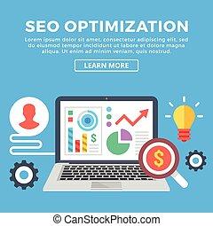 Seo optimization. Flat web banner