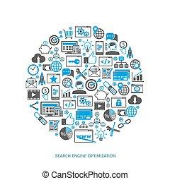 SEO optimization icons. Web development, internet marketing,...