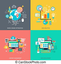 SEO optimization icons. Web development, internet marketing,...
