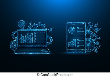 SEO optimization low poly design. Search engine optimization for mobile devices and laptops polygonal vector illustrations on a blue background.