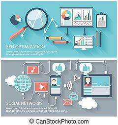 seo, optimization, netværk, sociale