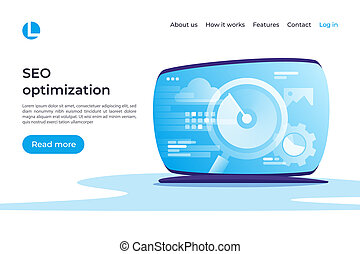 SEO optimization, web analytics vector concept. Landing page tem