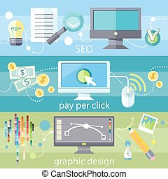 SEO social engineering optimization, programming process. Pay per click internet advertising model. Web graphic design. Program for design and architecture in flat design on banners