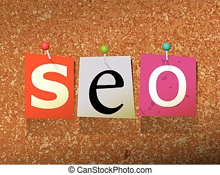 """SEO Pinned Paper Concept Illustration - The word """"SEO"""" ..."""