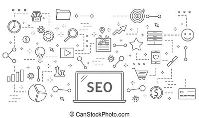 SEO plan animation. Flat line motion graphic with icons...