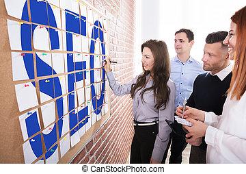 seo, planificação, conceito, pessoas negócio