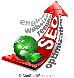 Written SEO with red arrow and globe, mouse and written: optimization, results, website, engine
