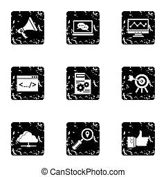 SEO promotion icons set, grunge style